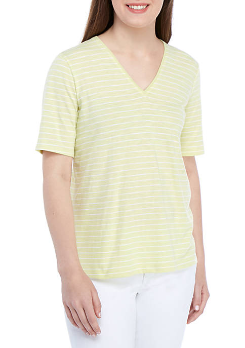 Eileen Fisher Striped Slub V Neck T Shirt