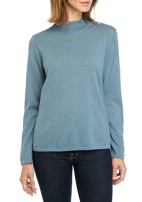 Eileen Fisher Mock Neck Wool Crop Sweater