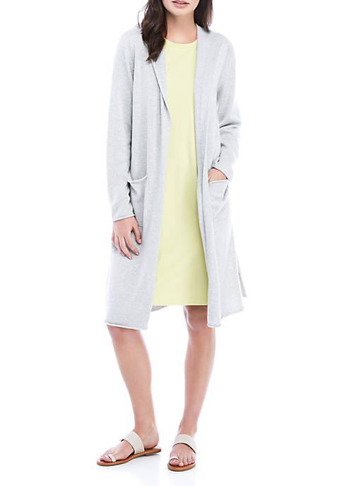 Eileen Fisher Hooded Long Pocket Cardigan