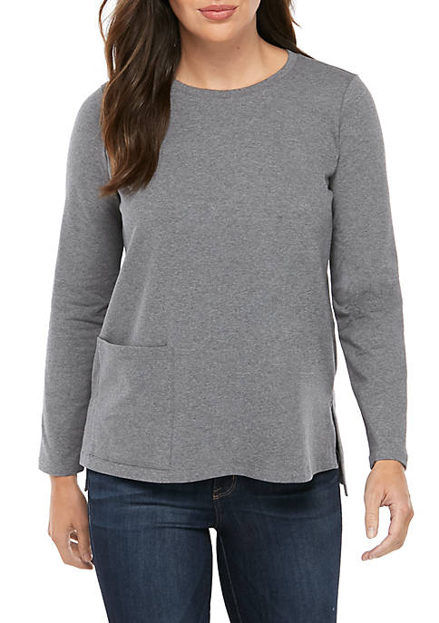 Eileen Fisher Heathered Round Neck Pocket Knit Top
