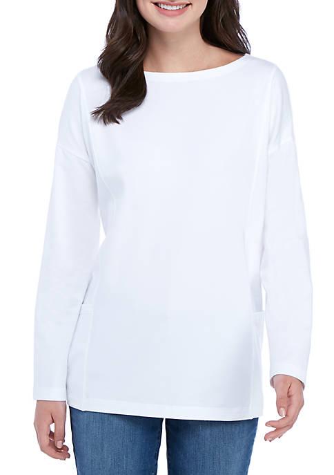 Boat Neck Front Pocket Long Sleeve T Shirt