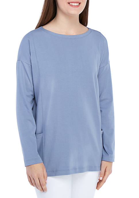 Eileen Fisher Boat Neck Front Pocket Long Sleeve