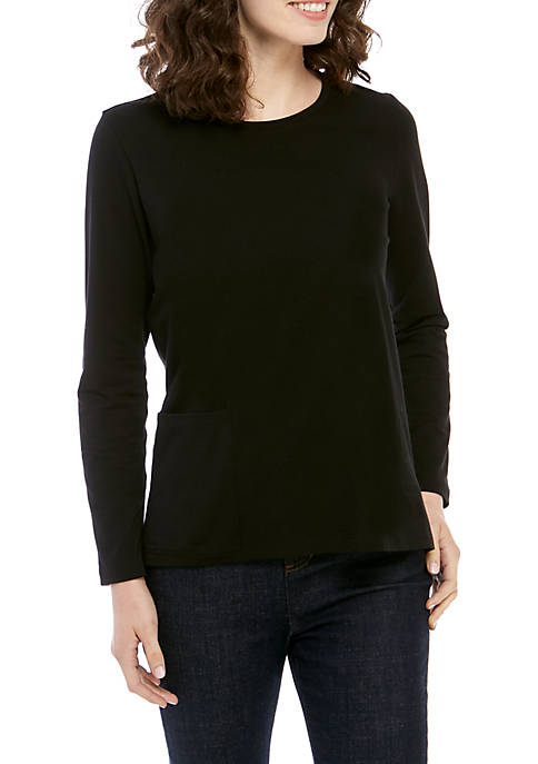 Eileen Fisher Round Neck Jersey Pocket Top