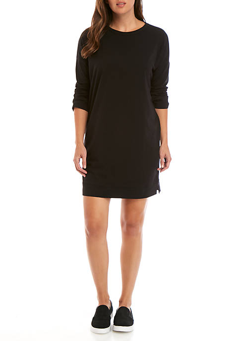 Eileen Fisher Round Neck 3/4 Sleeve Jersey Dress