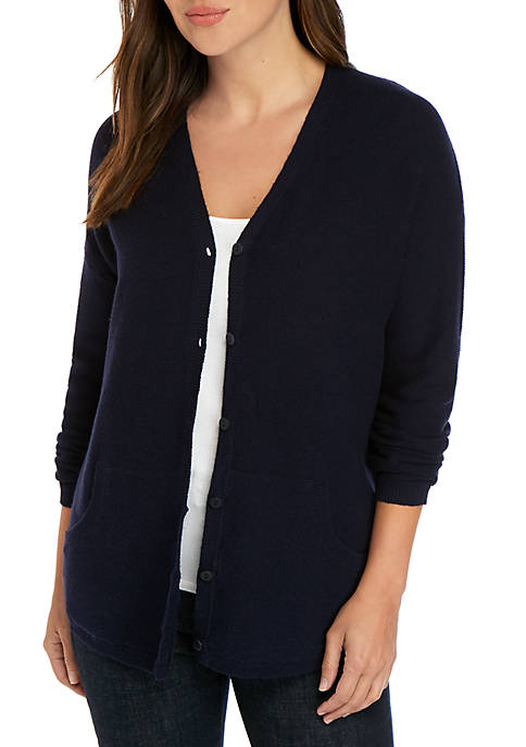 V Neck Button Front Cardigan