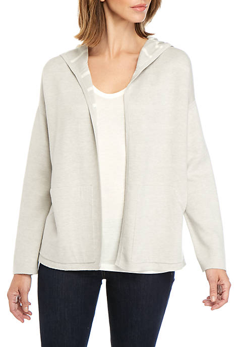 Eileen Fisher Reversible Stripe Hooded Cardigan