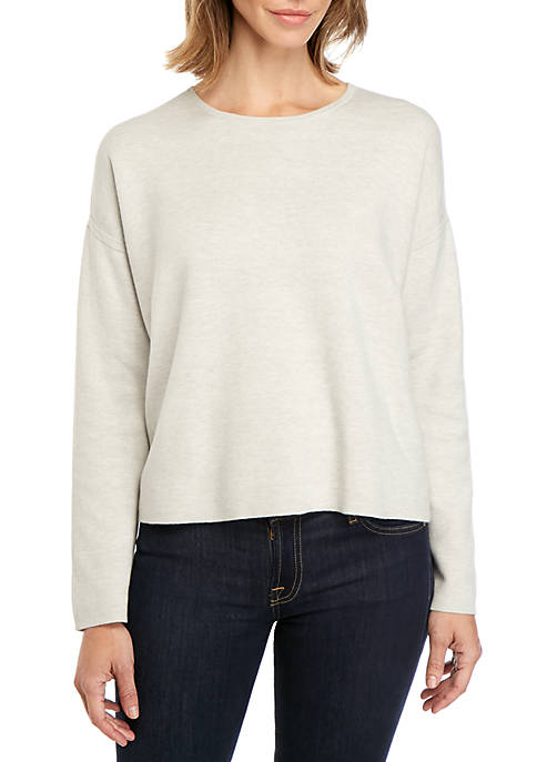 Eileen Fisher Reversible Stripe Round Neck Sweater