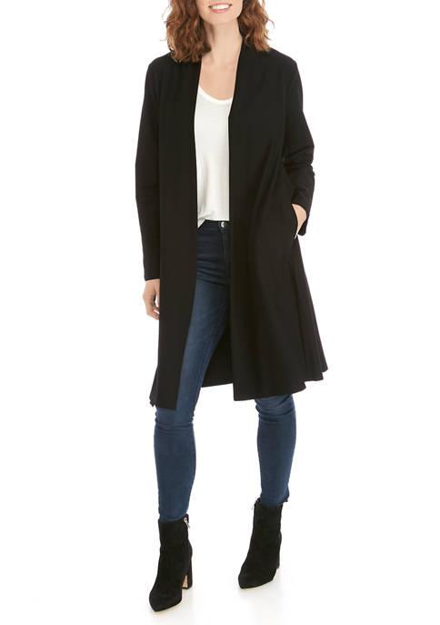 Eileen Fisher Womens Shawl Collar Crepe Long Jacket