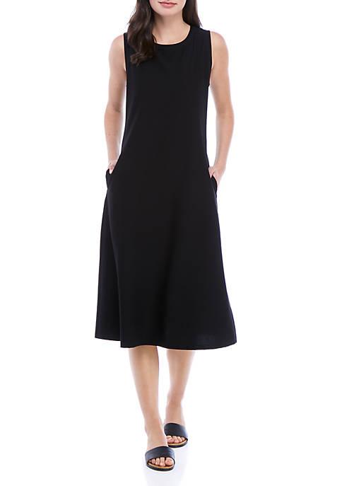 Eileen Fisher Round Neck Sleeveless Straight Crepe Dress