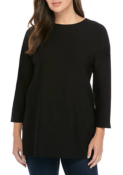 Eileen Fisher Round Neck Crepe Tunic
