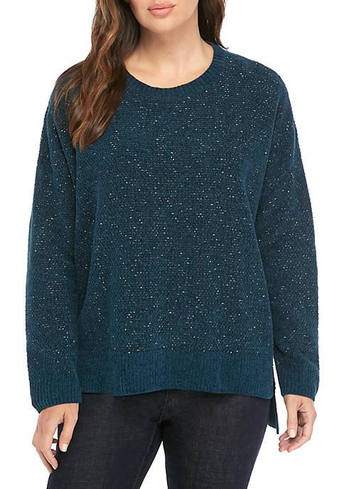 Tweed Crew Neck Box Sweater