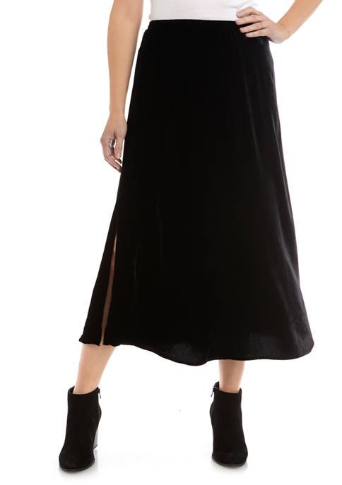 Womens Velvet Side Slit Skirt