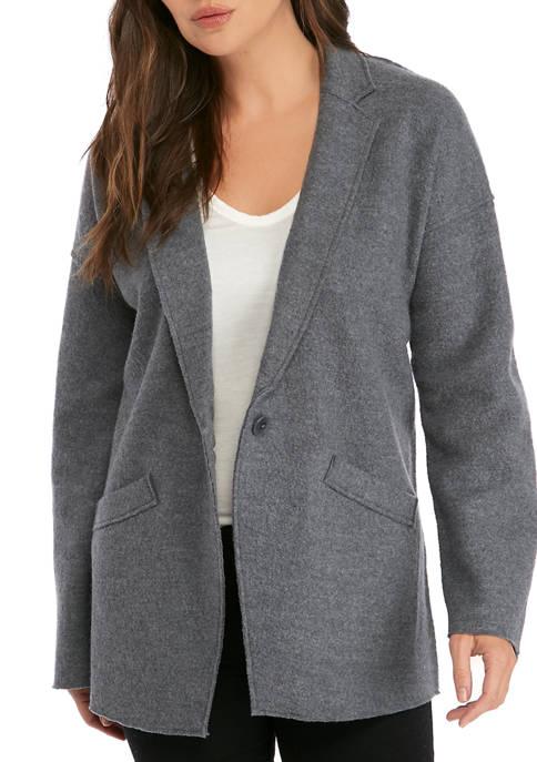 Eileen Fisher Womens Notch Collar Boil Wool Jacket