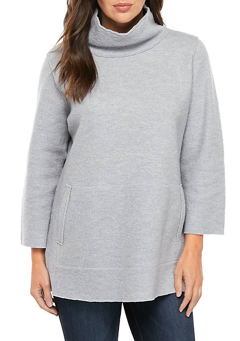 Eileen Fisher Funnel Neck Boil Wool Sweater