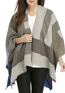 Color Block Wool Poncho