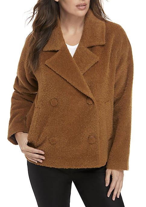 Eileen Fisher Notch Collar Double Button Alpaca Jacket