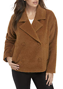 Notch Collar Double Button Alpaca Jacket