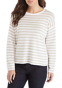 Split Hem Stripe Sweater