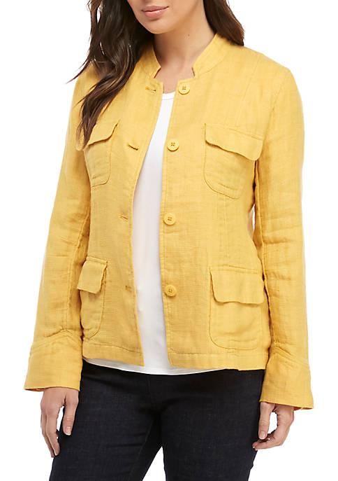 Eileen Fisher Utility Linen Double Woven Jacket