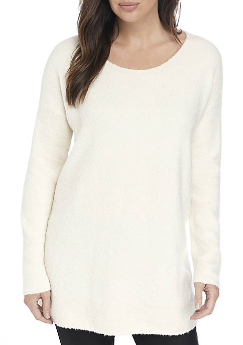 Eileen Fisher Scoop Neck Fluff Tunic Sweater