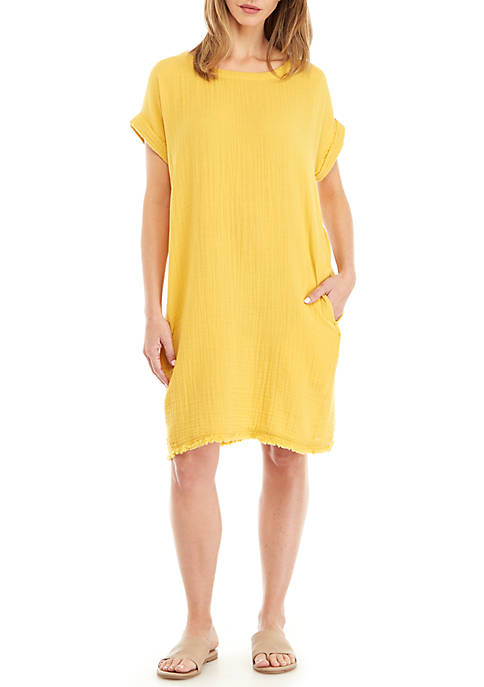 Eileen Fisher Bateau Neck Gauze Dress