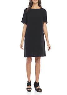 Boat Neck Silk and Crepe Dress