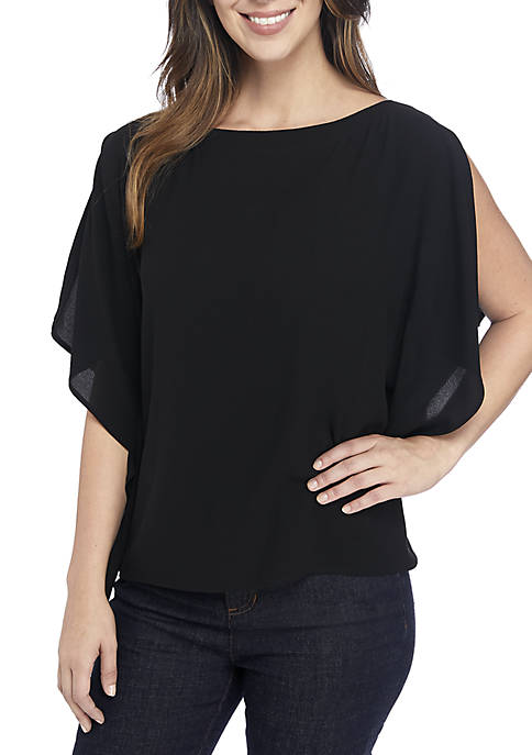 Eileen Fisher Boat Neck Crepe Blouse