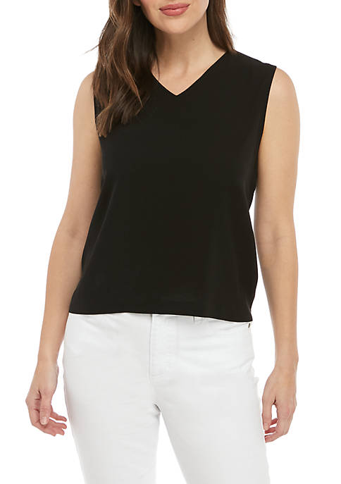 Eileen Fisher V Neck Silk Tank