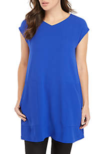 Short Sleeve Tunic Top with Pockets
