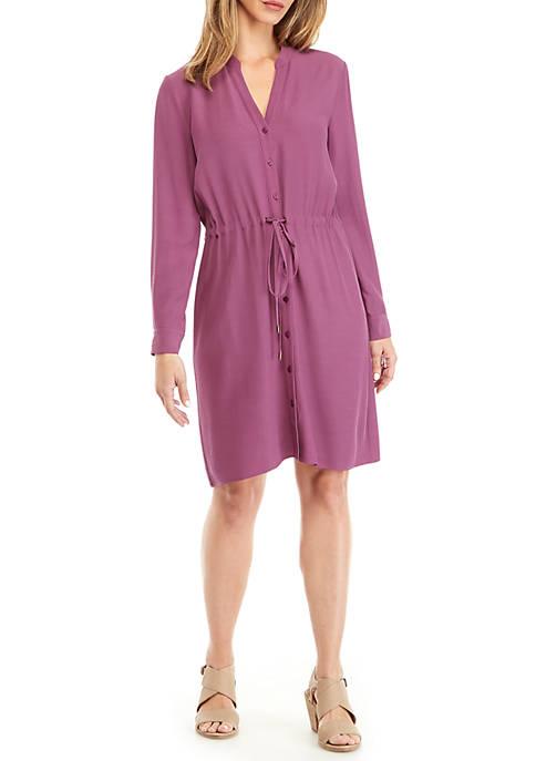 Eileen Fisher Drawstring Stand Collar Dress