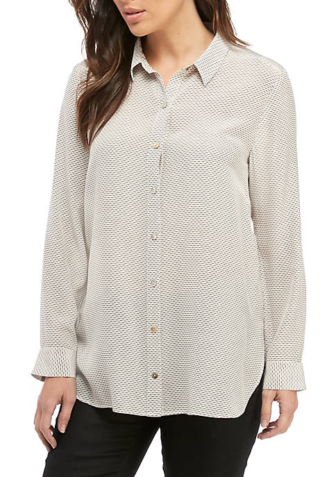 Eileen Fisher Triangle Print Long Shirt