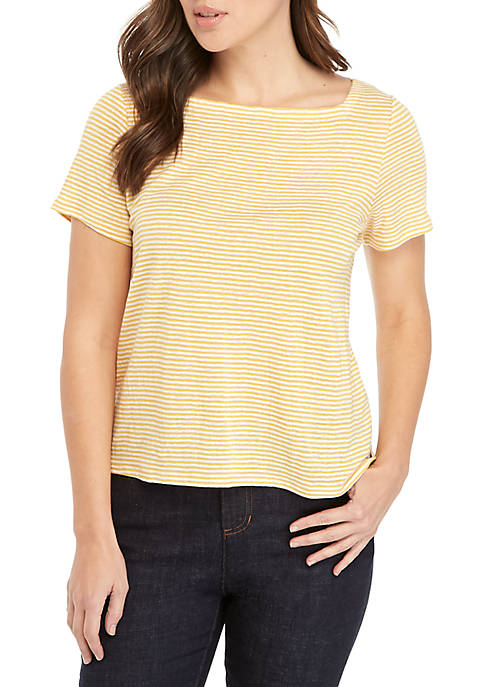 Eileen Fisher Short Sleeve Square Neck Stripe Tee