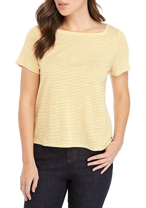 Short Sleeve Square Neck Stripe Tee