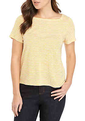 674b8ef51014 Eileen Fisher Short Sleeve Square Neck Stripe Tee ...