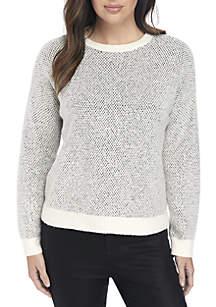 2-Tone Knit Fluff Sweater