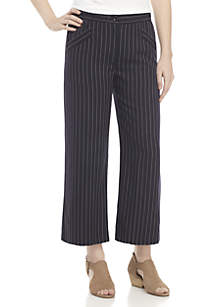 Grain Stripe Wide Leg Crop Pants