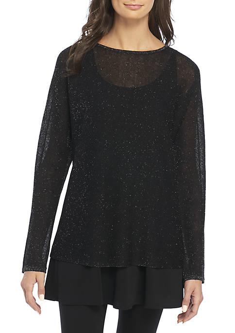 Eileen Fisher Bateau Lurex Tunic Sweater