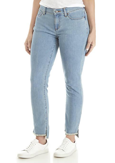 Eileen Fisher Raw Hem Slim Ankle Jeans