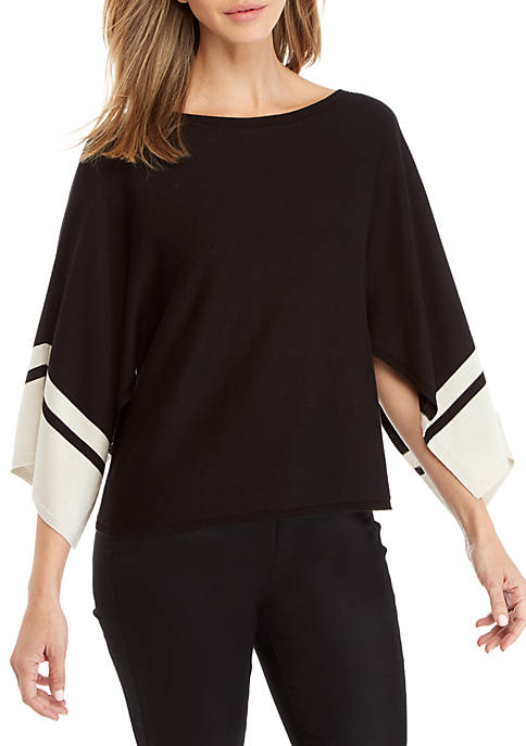Eileen Fisher Contrasting Stripe Sleeve Sweater