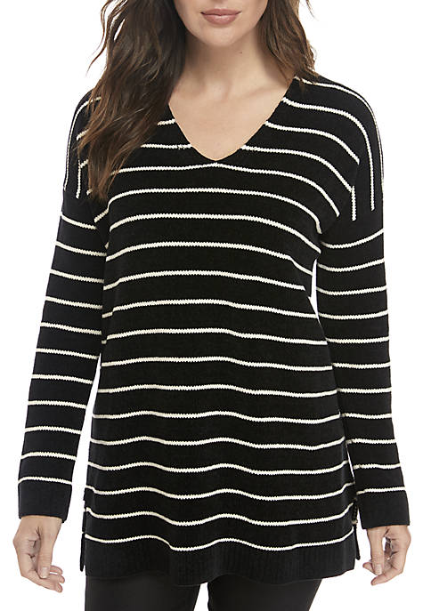 Eileen Fisher Striped V-Neck Sweater