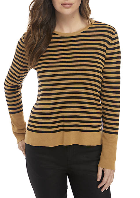 Eileen Fisher Round Neck Striped Sweater