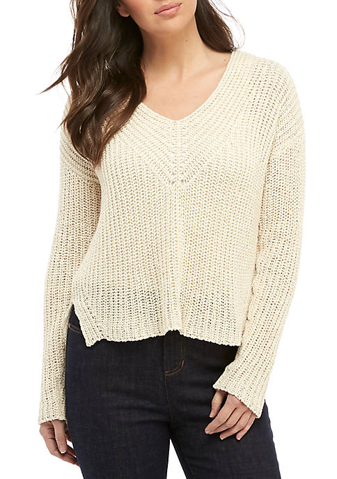 Eileen Fisher Linen V-Neck Tape Sweater