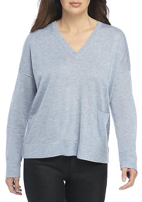 03f343c9616 Eileen Fisher V-Neck Box Sweater