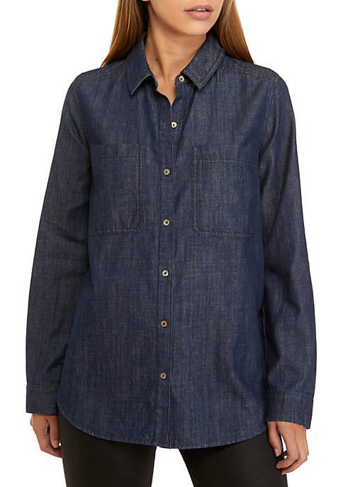 Eileen Fisher Drapy Denim Shirt