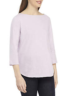 Eileen Fisher 3/4 Sleeve Bateau Neck Tee