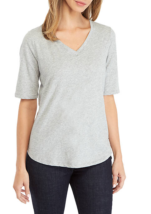 Eileen Fisher Short Sleeve V-Neck Melange Tee