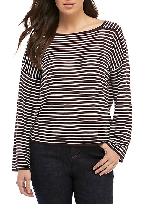 Eileen Fisher Stripe Bateau Neck Sweater