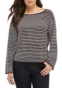Eileen Fisher Stripe Bateau Neck Sweater