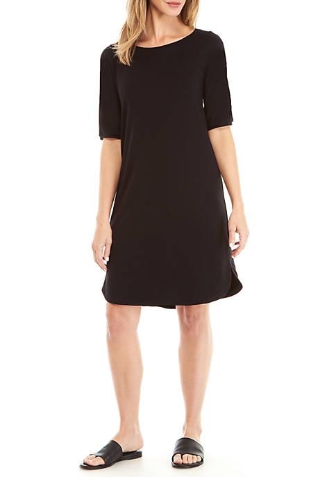 Eileen Fisher Elbow Sleeve Bateau Neck Knit Dress