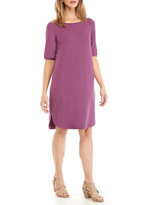 Elbow Sleeve Bateau Neck Knit Dress